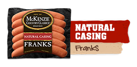 natural casing franks - 12 ounce package